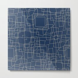 Decorative blue and grey abstract squares Metal Print