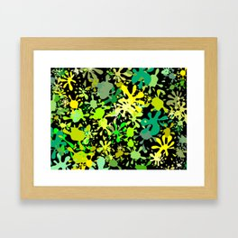 Green Ink Blots and Stains Framed Art Print