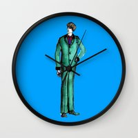givenchy Wall Clocks featuring Beetles Green Dandy by Notsniw