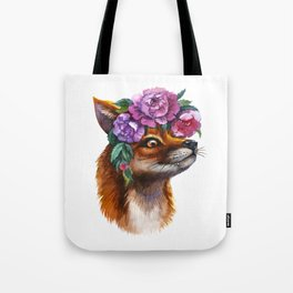 Red Fox and Peonies Tote Bag