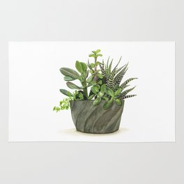 Watercolor Succulents Rug