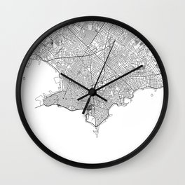 Montevideo City Map Uruguay White and Black Wall Clock