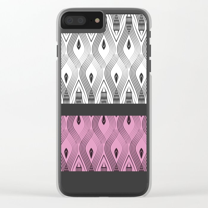 Art Deco 55 . White black and pink textures . Clear iPhone Case