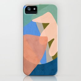 Shapes and Layers no.30 - Large Organic Shapes Blue Pink Green Gray iPhone Case