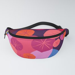 Vibrant Pilea Illustration in Pink, Red and Orange Fanny Pack