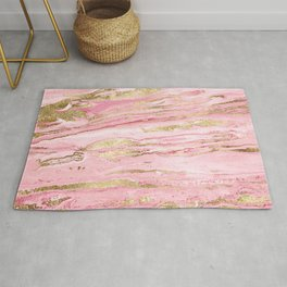 Stylish Pink & Gold Abstract Marbleized Paint Rug