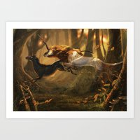 unicorns Art Prints featuring Unicorns by ErikaStudio