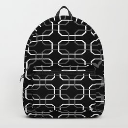 Black White and Gray Octagonal interlocking shapes Backpack