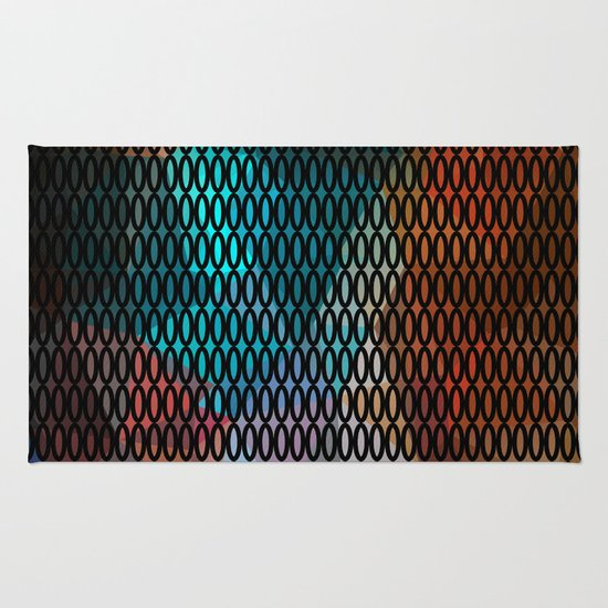 Abstract background of triangles polygon print. Bright dark design colors Rug