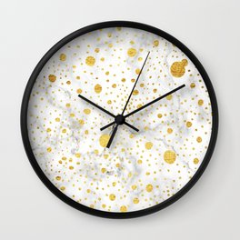 White marble with hand drawn dots in gold leaf Wall Clock