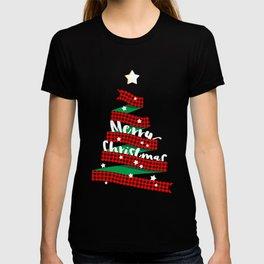 Merry Christmas Buffalo Checks Ribbon Tree T-shirt
