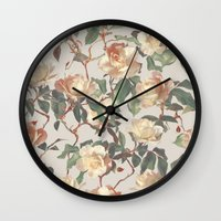 bedding Wall Clocks featuring Soft Vintage Rose Pattern by micklyn