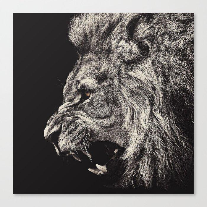 Angry Male Lion Leinwanddruck