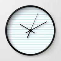 school Wall Clocks featuring school by austeja saffron