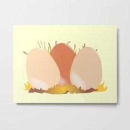 Three Chicken Eggs Metal Print