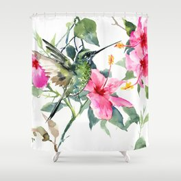Hibiscus and Hummingbird, Hawaiian Aloha, birds and flowers design Shower Curtain