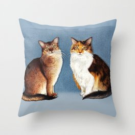Cute Cats Drawing Throw Pillow