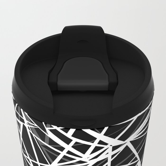 Black and white abstract geometric pattern . 8 Metal Travel Mug