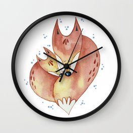 Red winter foxes Wall Clock