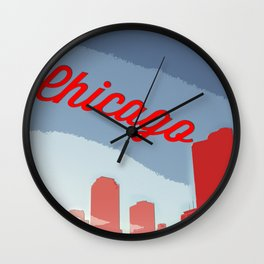 Chicago Skyline Travel Poster Wall Clock