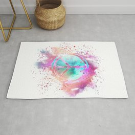 Colorful Painted Peace Symbol Hippie Style Rug