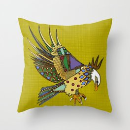 jewel eagle chartreuse Throw Pillow
