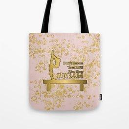 Live Your Dream Golden Gymnastics Graphic Design Tote Bag