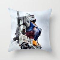 gundam Throw Pillows featuring Gundam Pride by Julie Maxwell