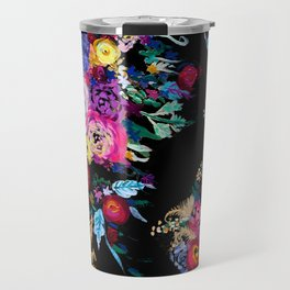 Colorful Floral Painting on Black Canvas. Travel Mug