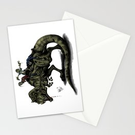 Zombies Riding a Trex Stationery Cards