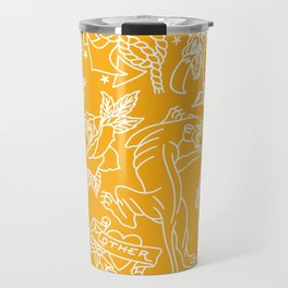 Mustard print Travel Mug