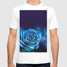Blue Rose MEDIUM White Mens Fitted Tee