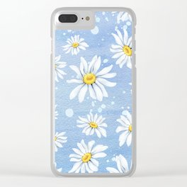 Spring Daisies On Sky Blue Watercolour Clear iPhone Case