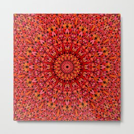 Red Geometric Bloom Mandala Metal Print