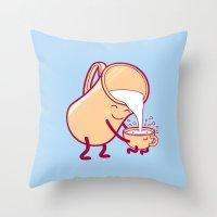 milk Throw Pillows featuring milk by gotoup