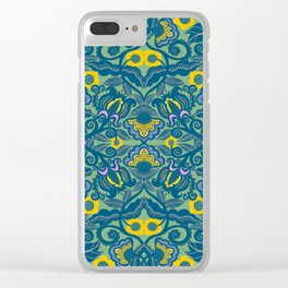 Blue Vines and Folk Art Flowers Pattern Clear iPhone Case