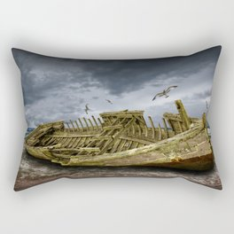 Boat Shipwreck on the Beach Shore Rectangular Pillow