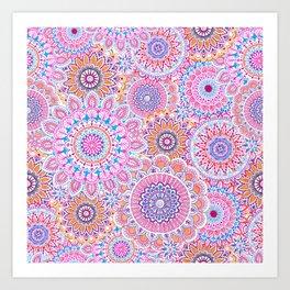 Mandala Maze Pink Art Print