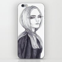cara delevingne iPhone & iPod Skins featuring Cara Delevingne by Asquared2Art