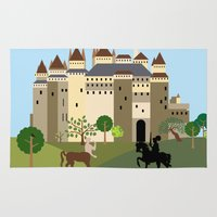 castle Area & Throw Rugs featuring castle  by Design4u Studio