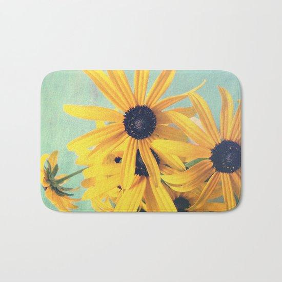 Sweet Yellow Flowers Bath Mat