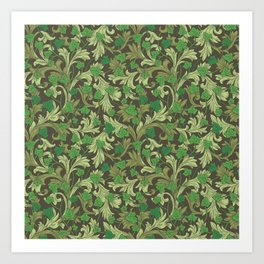 Green ivy with ornament on dark brown background Art Print