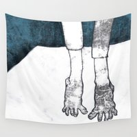 feet Wall Tapestries featuring Feet on a raft by illustrationist