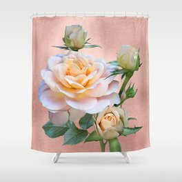 Peach Rose with Buds Shower Curtain