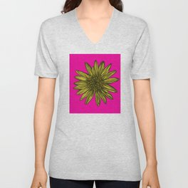 Mellow Yellow Daisy on hot pink Unisex V-Neck