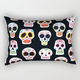 Day of the Dead Skulls Pattern on Black Rectangular Pillow