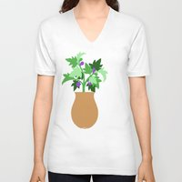 fig V-neck T-shirts featuring fig by Little Lost Garden