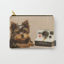 A Yorkie Puppy and a Polaroid Land Camera Carry-All Pouch