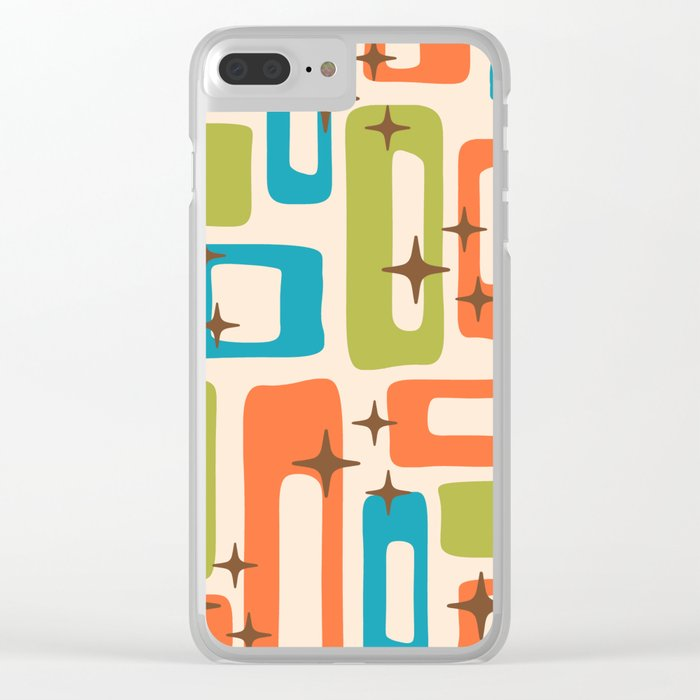 Retro Mid Century Modern Abstract Pattern 921 Orange Chartreuse Turquoise Clear iPhone Case