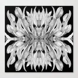 Flower Power - Monochrome Watercolour Tulips Kaleidoscope Canvas Print